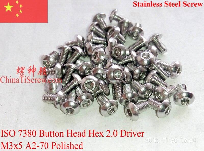 M2x12 Button Head Hex Socket Drive Screws 304 Stainless Steel Button Head Cap Screws Pack of 100