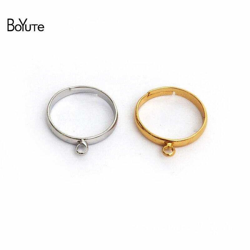 הגדרות בסיס טבעת מתכוונן BoYuTe 20 יחידות 4 צבעים עם לולאה אחת חלקי תכשיטים ואביזרי Diy