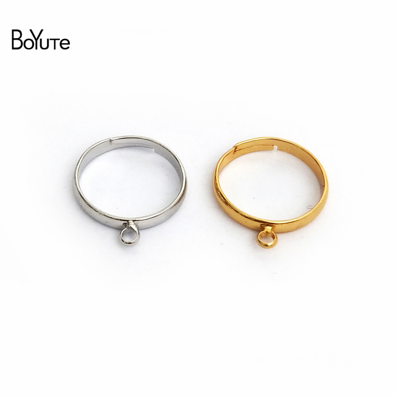 BoYuTe 20Pcs 4 Colors Inner 18MM Diameter Adjustable Ring Base Settings With One Loop Diy Jewelry Accessories Parts