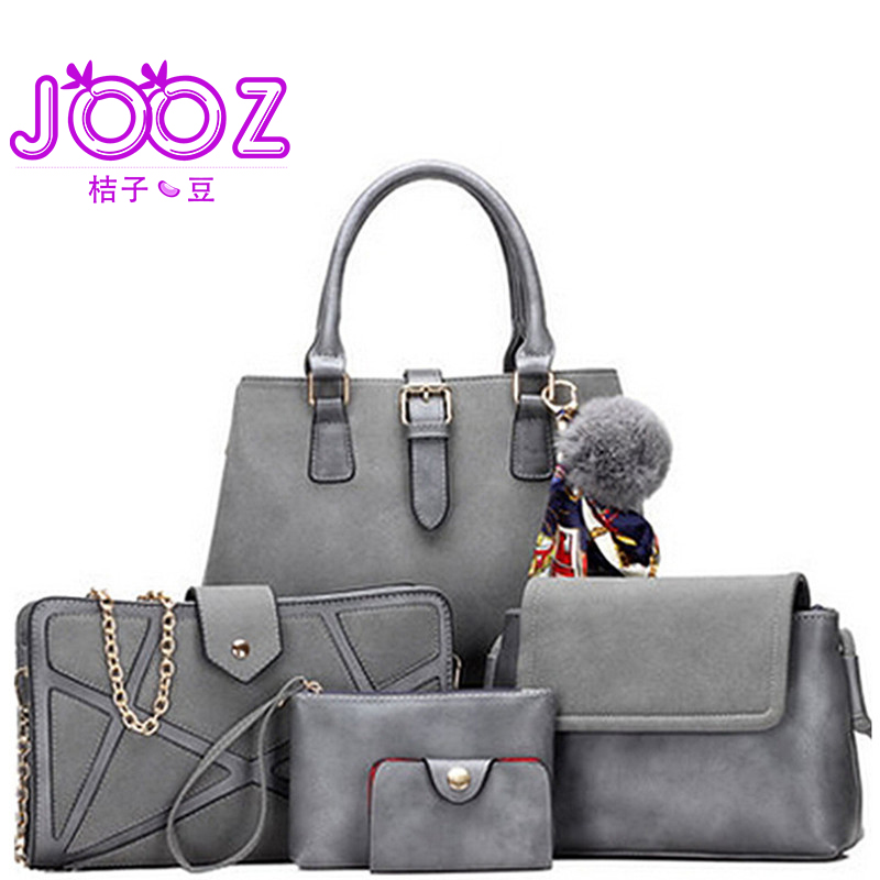 цена JOOZ Brand Luxury PU Leather Handbag 5 Pcs Composite Bags Set Female Shoulder Crossbody Messenger Women Bag Purse Clutch Wallet