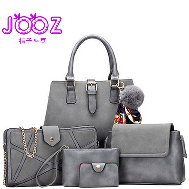 a4bfc32231 JOOZ Brand Luxury PU Leather Handbag 5 Pcs Composite Bags Set Female  Shoulder Crossbody Messenger Women Bag Purse Clutch Wallet
