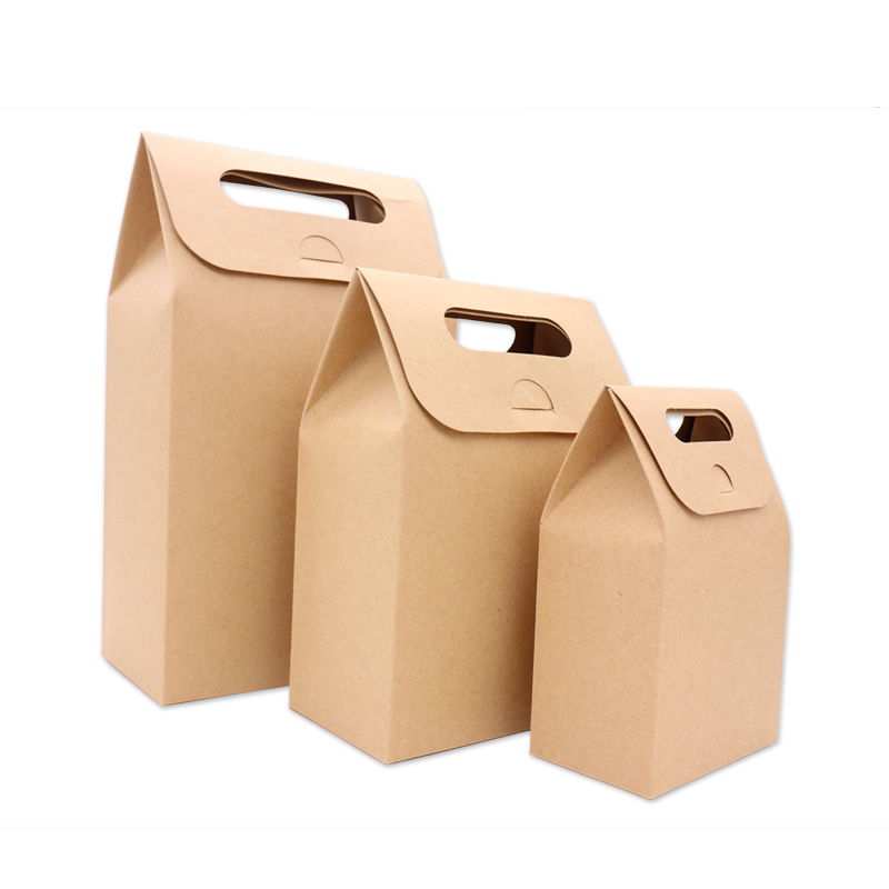 10Pcs Kraft Paper Candy Boxes With Handle Snack Cookie Chocolates Gifts bag for wedding birthday party Christmas favors Package