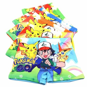 10pcs Boys Underwear Cute Briefs Panties Kids Baby Boxer Briefs Cartoon Pokemon Wholesale Children Boy Underpants contrast trim hipster boxer briefs