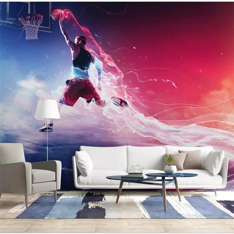 Us 885 41 Offbeibehang Custom Wallpaper Cool Basketball Slam Dunk Background Wall Paper Mural Custom Large Mural Green Wallpaper Mural In