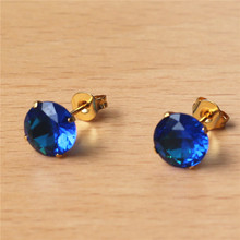 купить Z813 316 L Stainless Steel 8mm New Royal Blue Round Zircons Stud Earrings Gold-Color Vacuum Plating No Easy Fade Allergy Free по цене 126.71 рублей