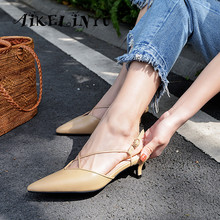 AIKELINYU Summer Women High Heel Shoes Sexy Pointed Toe Work Office Shoes Low-heel Handmade Cross tied Sandals Ladies Khaki Pump peep toe high thin heel dark khaki women sandals ankle cross tied shoes mature style well matched clothes shoes for summer