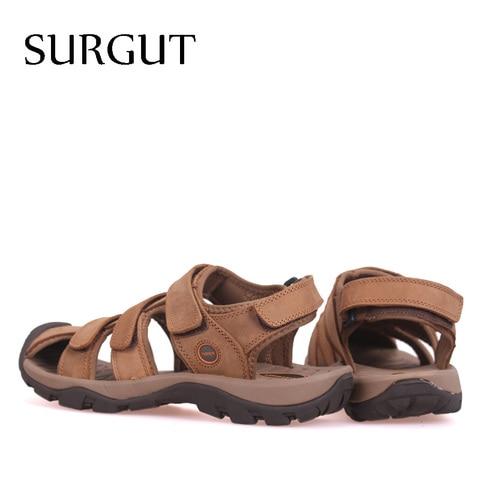 SURGUT Brand New High Quality Men Genuine Leather Sandals Breathable Comfortable Cozy Summer Shoes Fashion Flat Male Sandals Lahore
