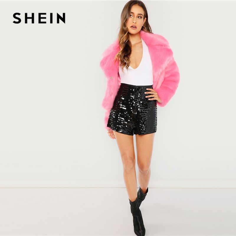a7fc8d5fe9 ... SHEIN Black Highstreet Party Sequin Mid Waist Zipper Fly Solid Shorts  2018 Summer Fashion Streetwear Club ...