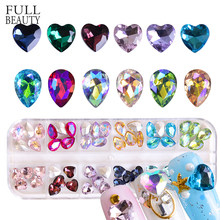 Full Beauty 60pc/box Mixed Crystal Glass Decorations Nail Art Rhinestones Colorful Crystal Purple/Montana 3D Gems DIY Nails CHSX(China)