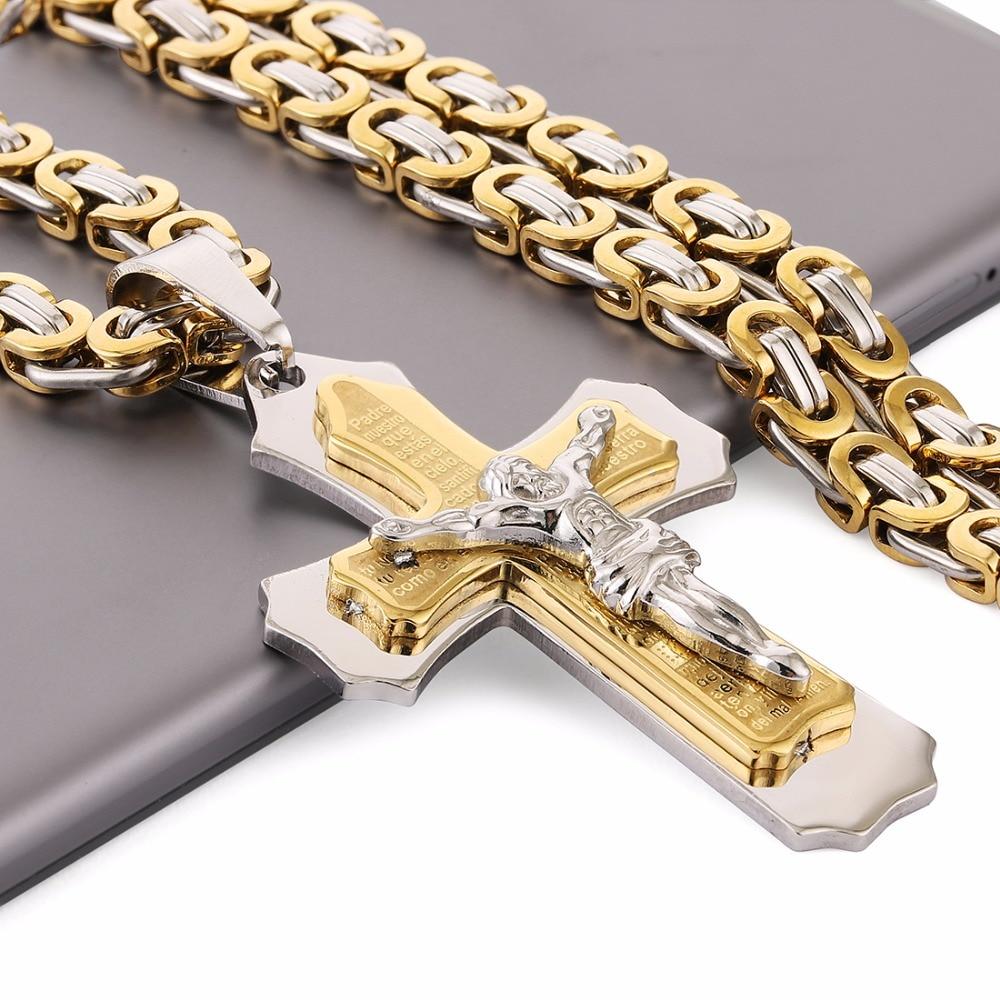 Multilayer Cross Christan Jesus Pendant Necklace Stainless Steel 21.65