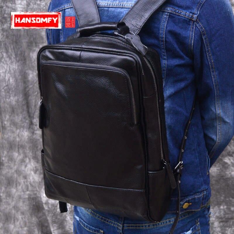 все цены на Genuine Men Leather Backpack male Men Travel Bags Daypacks Black Computer Backpacks For men back pack Teenager Laptop Backpacks