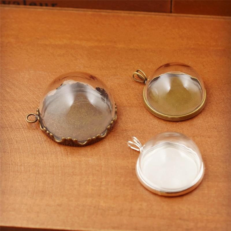 1 Set Hohl Glas Dome Mit Einstellung Basis Mit Ring Set Orb Glaskugel Anhänger Glas Flasche Schmuck Anhänger Verschiedenen Stil Gut FüR Antipyretika Und Hals-Schnuller