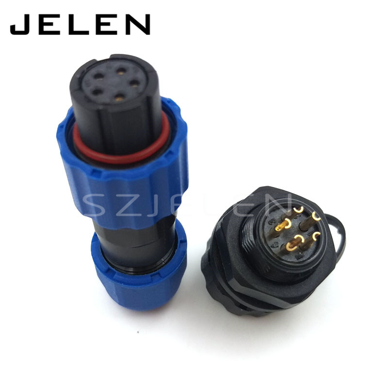SD13, soldering watertight connectors 5pins connectors, IP68 electrical power Cable waterproof male female connector 5 pin