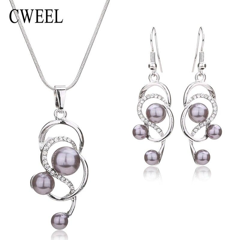 Cweel mujeres simulado pearl & crystal aretes collar de la joyería accesorios de