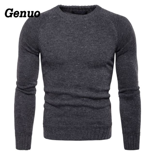 Genuo Patchwork Sweater Men Winter Solid Knitted Pullover Pull Homme O-Neck Slim Fit Sweater Casual Tops Clothes Plus Size S-2XL