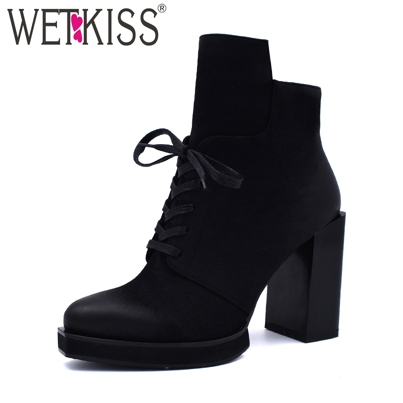 WETKISS/зимние На высоких толстых каблуках женские ботильоны толстые плюшевые квадратный носок на шнуровке обувь на платформе женские ботинки...