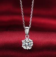 Free Shipping fashion Elegant female cubic zirconia 1ct Pendant women Necklace include silver chain girl gift