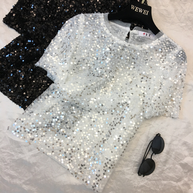 2018 New Fashion Summer Women's Short Sleeve Sequin T Shirt Round Collar Loose Pulllover Shirt Tops by Chimavvi