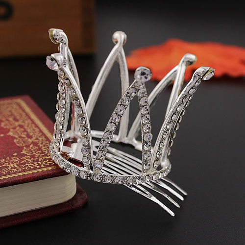 Små piger Crown Tiara Hair Combs Clear Stone Crystal Mini Tiara Hår - Mode smykker - Foto 3