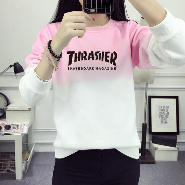 Mulheres Moletom THRASHER Carta Algodão Pullovers Camisola SKATE Hip Hop Mulheres Imprimir Hoodies Treino JBW-21584