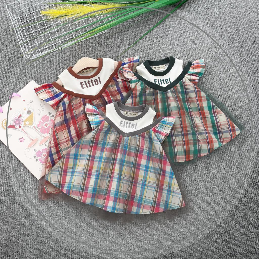 Vestido Infantil Baby Dress 2018 Summer Cross-country Korean Girl Checkered Flying Sleeve Doll Collar Boutique Childrens Wear
