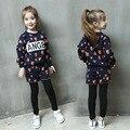 Conjunto de Roupas meninas Esportes Crianças Brasão Roupas de Inverno Cão Dos Desenhos Animados T-shirt Das Meninas + Calças dos Ternos Do Esporte Criança Primavera Conjunto de Roupas