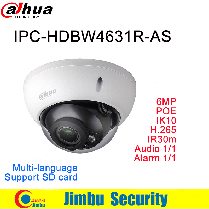 Dahua IP Camera POE 6MP IPC-HDBW4631R-AS H.265 IR30m built-in SD card Audio and Alarm interface IP67 IK10 CCTV Camera dahua ip camera 6mp poe ipc hdbw4631r s support sd slot ir30m ik10 ip67 cctv camera english firmware