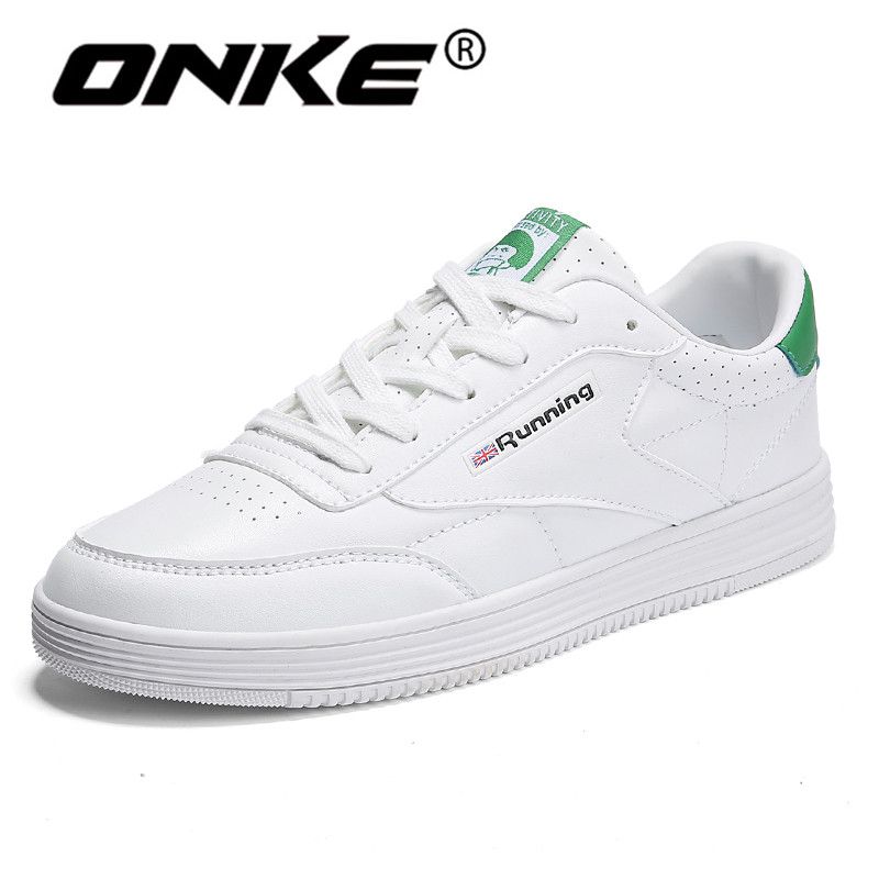 Onke Blanc Sneakers pour Hommes Printemps Automne En Cuir Chaussures de Course Respirant Chaussures de Marche Élégant Sport Homme Sneaker Taille 9