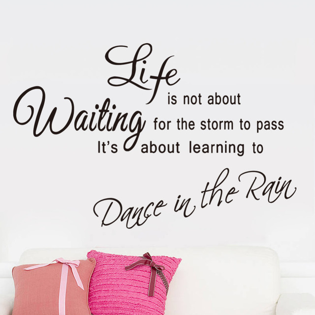 Diy Dance In The Rain Vinyl Wall Decal Quote Lettering Home Mural