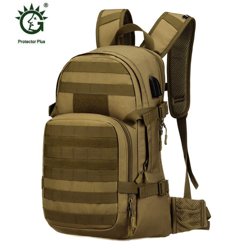 New male bag military leisure waterproof nylon 25 liter backpack double shoulder bag data cable rechargeable