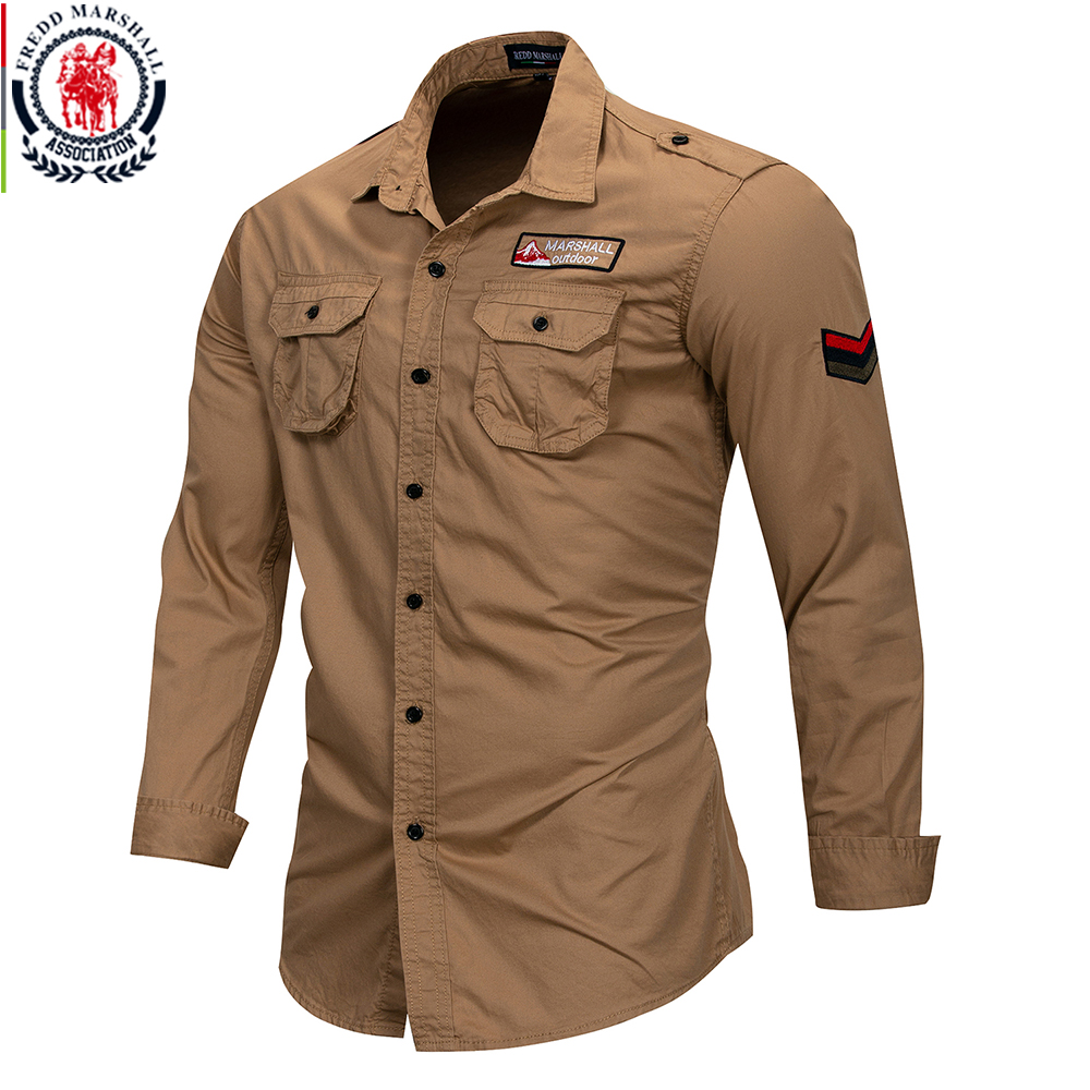 Fredd Marshall 2019 New 100% Cotton Military Shirt Men Long Sleeve Casual Dress Shirt Male Cargo Work Shirts With Embroidery 3