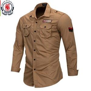 Image 3 - Fredd מרשל 2019 חדש 100% כותנה צבאי חולצה ארוך שרוול מזדמן שמלת חולצה זכר מטען עבודת חולצות עם רקמה 115