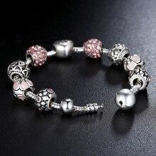 Silver Strand Bracelet for Women Charm Flower Crystal Chain Link Bracelet Pulseras Bead Fit Original Bracelet Jewelry gift