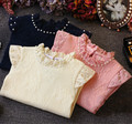 100% Cotton Kids T Shirt Autumn Winter lace pearl Cartoon Long Sleeve Baby Girls T-Shirt Children Pullovers Tee princess Clothes