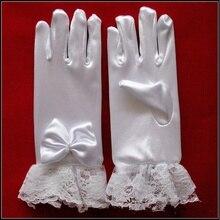 Детские кружевные перламутровые перчатки для девочек, романтические милые однотонные перчатки принцессы с цветами, вечерние, детские, для девочек, первые аксессуары для посещения церкви