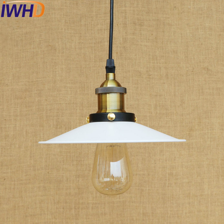 IWHD American Loft Style Iron Retro Droplight Edison Industrial Vintage Pendant Light Fixtures For Dining Room Hanging Lamp