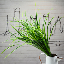 Fake Plants 50cm/19.68 Length 24Pcs Artificial Plastic Spring Grass Green Vertical Flat Grasses for Wedding Photograph