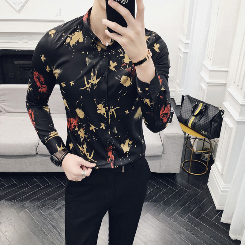 036aeb8c25f7 loldealSocial Club Party Baroque Stretch Male Shirt Swallow Print Shirt  Club Outfit Black Gold Fancy Shirts DJ Singer Shirt -in Casual Shirts from  Men's ...