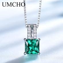 UMCHO Elegant Necklaces & Pendants 925 Sterling Silver Jewelry Created Emerald Necklace Wedding For Women Gift Fine Jewelry цена в Москве и Питере