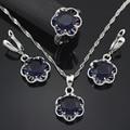 Благородный 10 мм синий сапфир женщины Jewerly комплект ожерелья серьги обруча размер кольца 6 7 8 9 свадебных украшений комплект T011B
