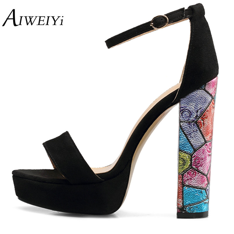 AIWEIYi Women's Chunky Strappy High Heel Sandals Summer Fashion Black Ankle Strap Open Toe Heeled Sandals Lades Wedding Shoes luxurious ankle strap chunky heel high