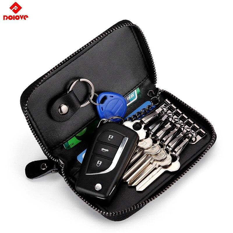 2019 New Genuine Leather Keychain Holder Pouch Purse Key Cover Bag Fashion Men Key Holder Organizer Car Key Case