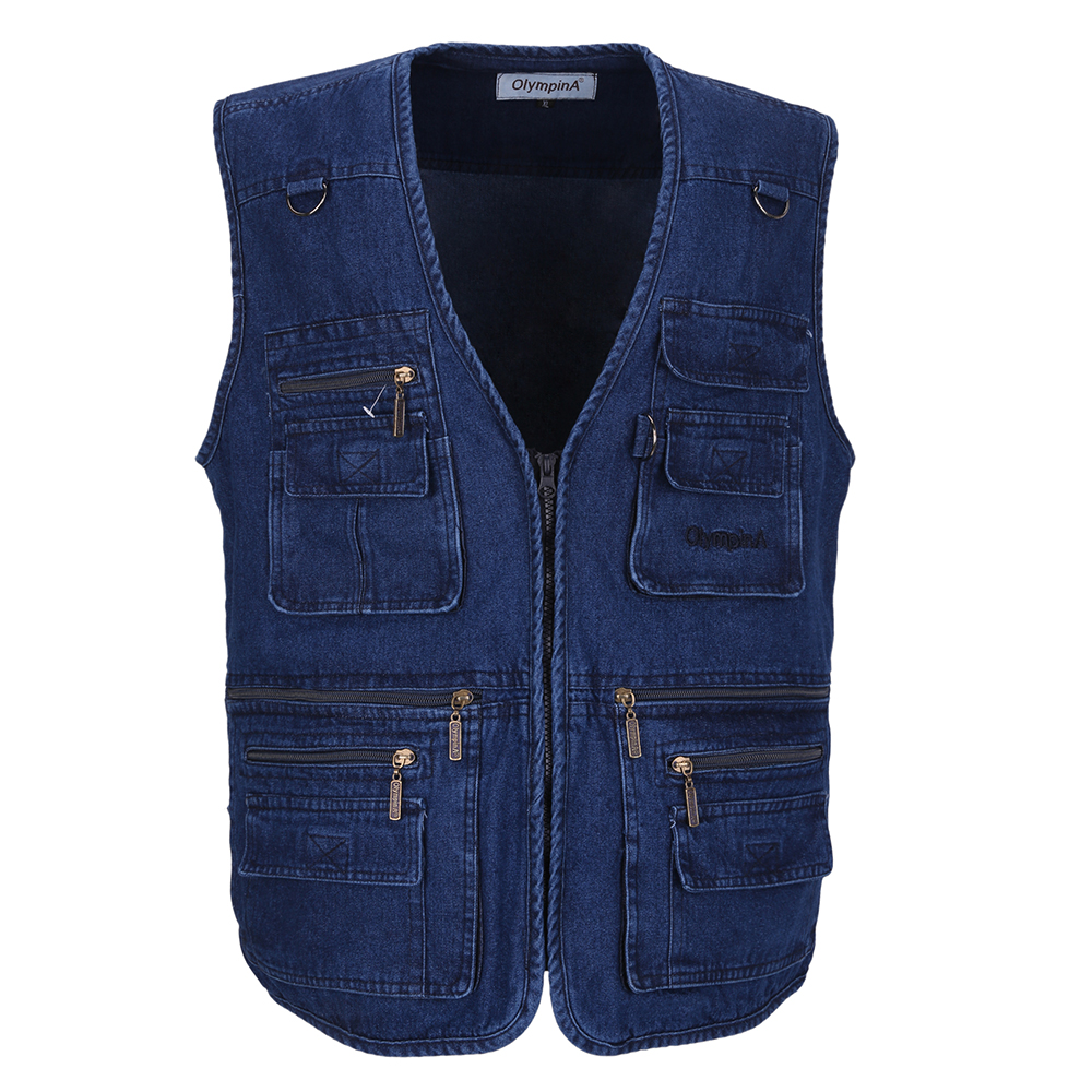 Male Denim Vests Men 3XL 4XL 5XL Vest Mens Causal Cotton Multi Pocket Sleevless Jean Jacket Men ...