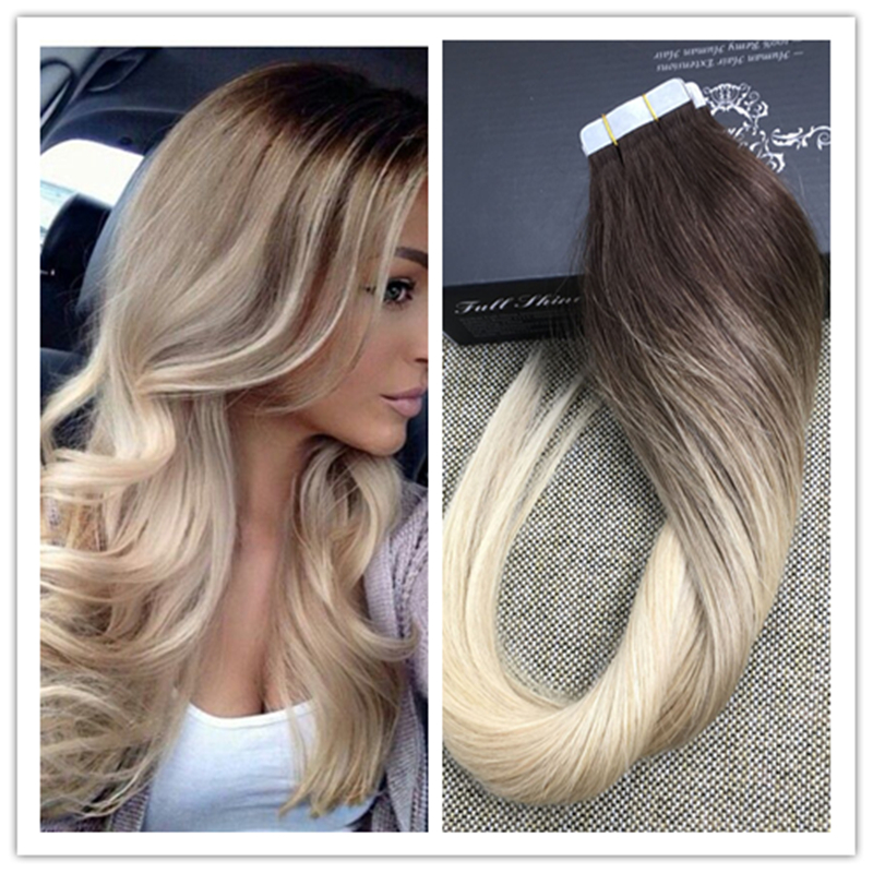 Full Shine Real Human Hair Tape Extensions Glued In Human Hair Skin