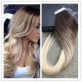 Full Shine Real Human Hair Tape Extensions Glued in Human Hair Skin Weft Balayage Ombre Color #3#4#613 Tape Hair Extensions