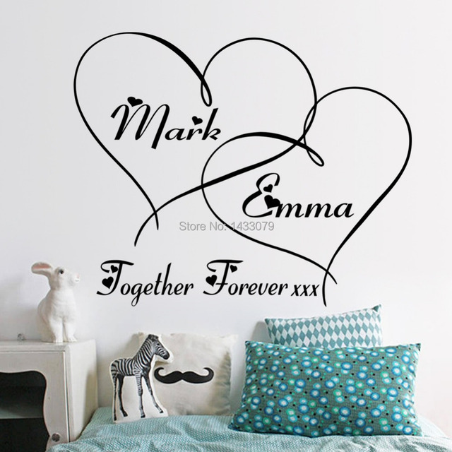 Hot hearts customizable removable shelf art characters writing vinyl pvc decal wall sticker mural home decor