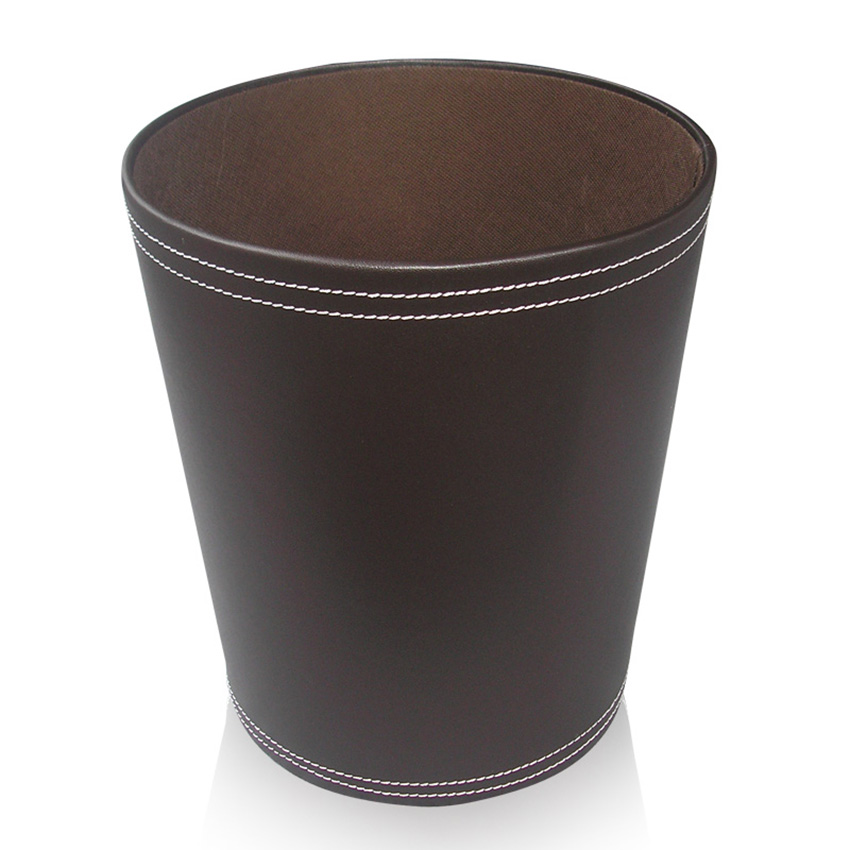 ... Leather Household/Office Sundries Trash Waste Bins Dustbin Brown A018