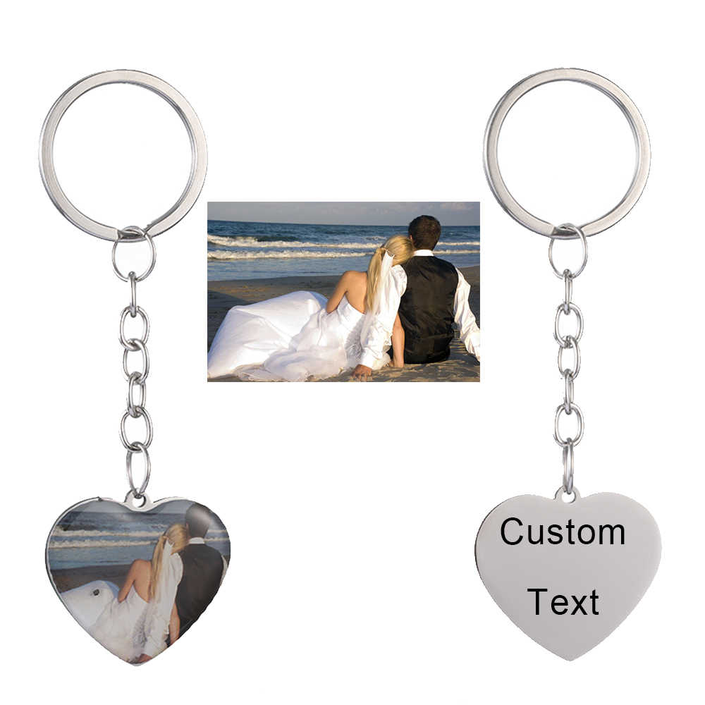 Personalized Custom Photo Text Keychain Best friends keyring Stainless Steel heart friendship lover jewelry gift for women girl