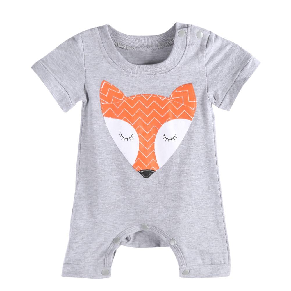 1 adet Bebek Romper Kız ve Erkek Kısa Kollu Tilki Baskı Yaz Giyim - Bebek Kıyafeti