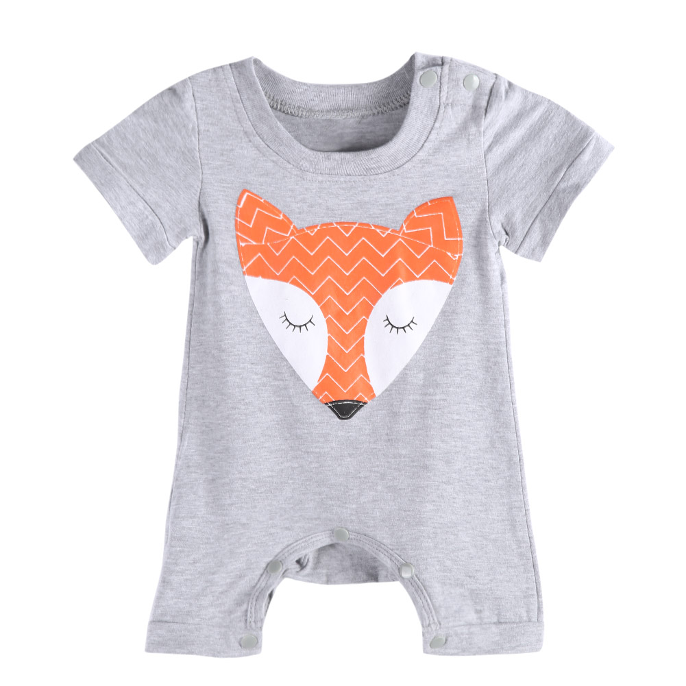 1pc baby romper meisje en jongen korte mouw vos print zomer kleding - Babykleding